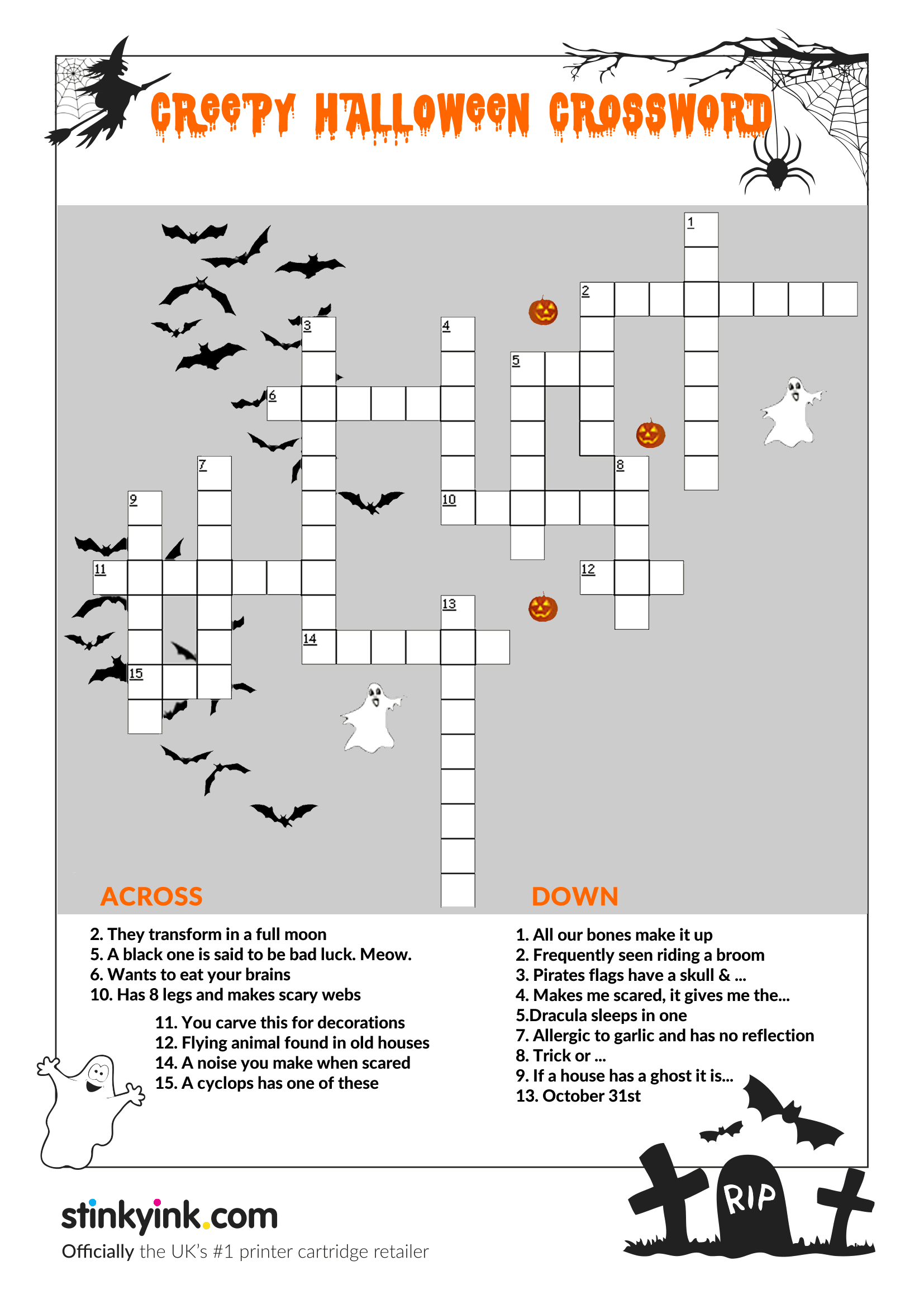 Kids Creepy Halloween Crossword