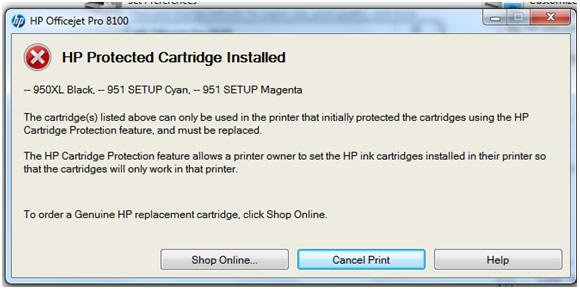 HP protected cartridge' error