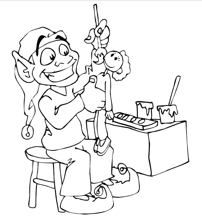 elf making toys coloring pages christmas elf best free